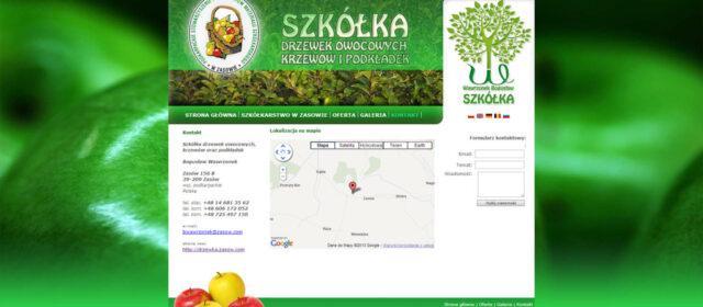 Strona internetowa Gospodarstwa Szkółkarskiego – Bogusław Wawrzonek – Zasów