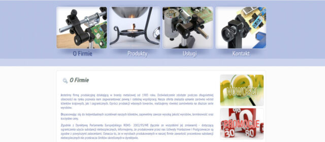 Strona www Zakładu Mechanicznego PIMET